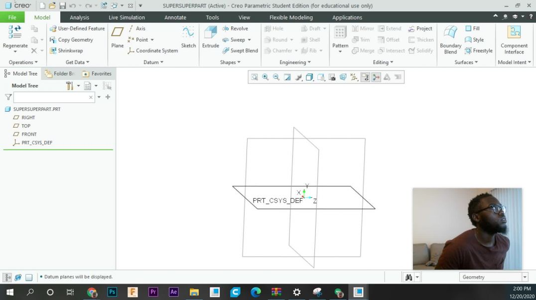 Mechanical Designing in Creo: 2 - The Basics of how to navigate the software
